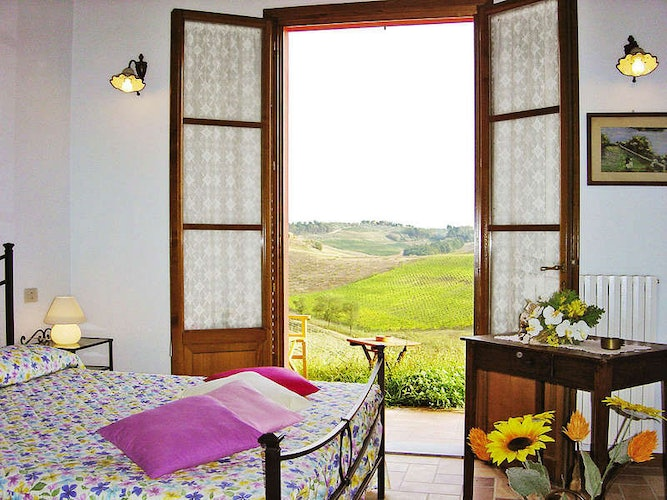 Every apartment has a beautiful view of the Tuscan landscape