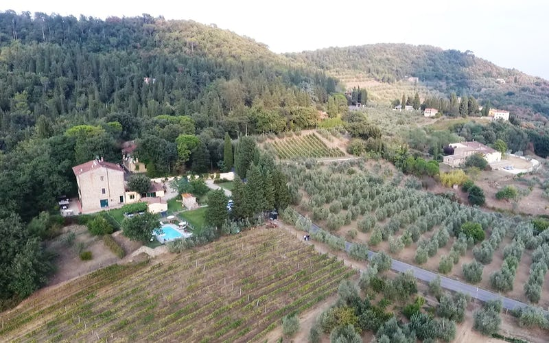 Panoramic view of Agriturismo La Tinaia from above