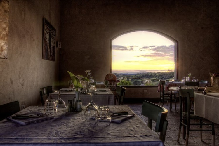 Restaurant With Wonderful View And Food Siena