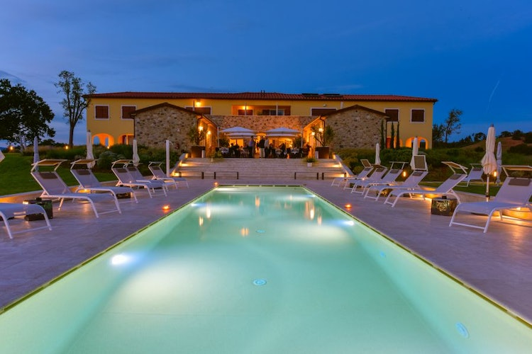 The gardens, pool and scenic view are spectacular under the stars