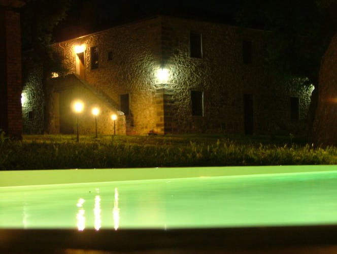 Pool at Night at San Clemente Chianti Farmhouse