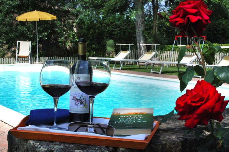 Agriturismo San Fabiano, poolside with a glass of wine