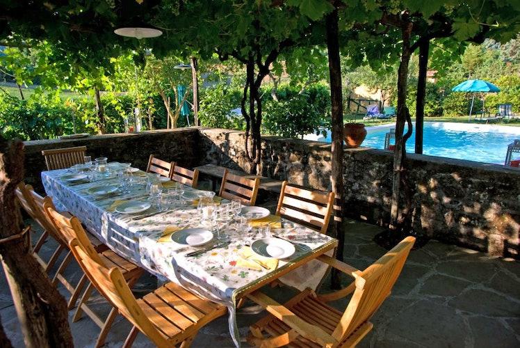 L'area esterna dove viene servita la cena, con vista sulla piscina