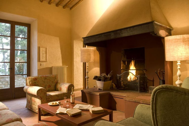 A typical Tuscan fireplace to warm up those cool nights