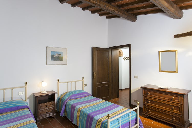 A room with two single beds in the Cortona apartment, with bright natural light