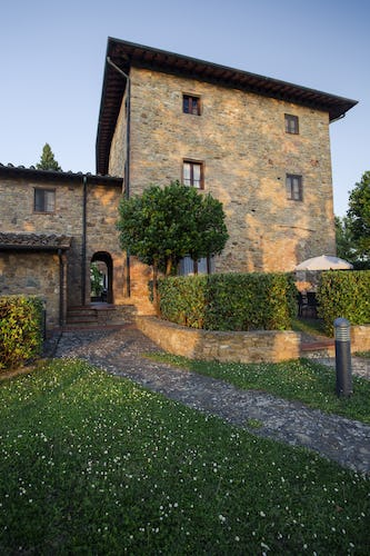At Borgo La Casaccia you can enjoy sipping a glass of Chianti wine while watching the setting sun