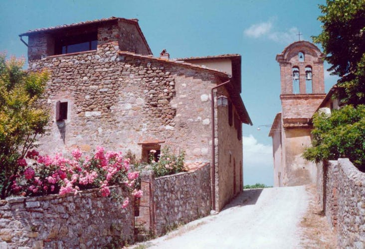 Picturesque town of Montozzi with classical Tuscan achitecture
