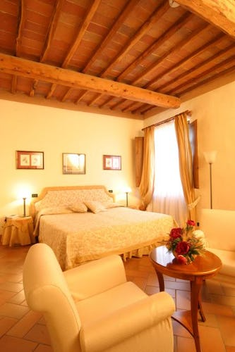 Beautifully restored bedrooms at il Chiostro di Pienza
