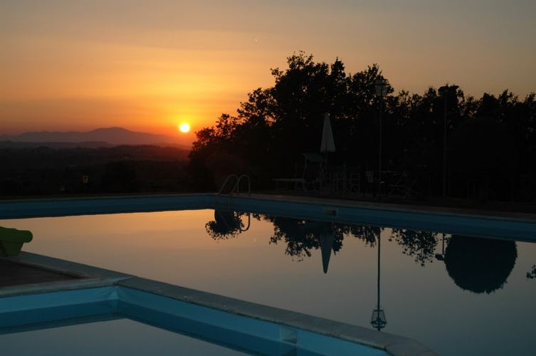 Pool at Sunset at Tenuta Moriano Chianti Tuscany