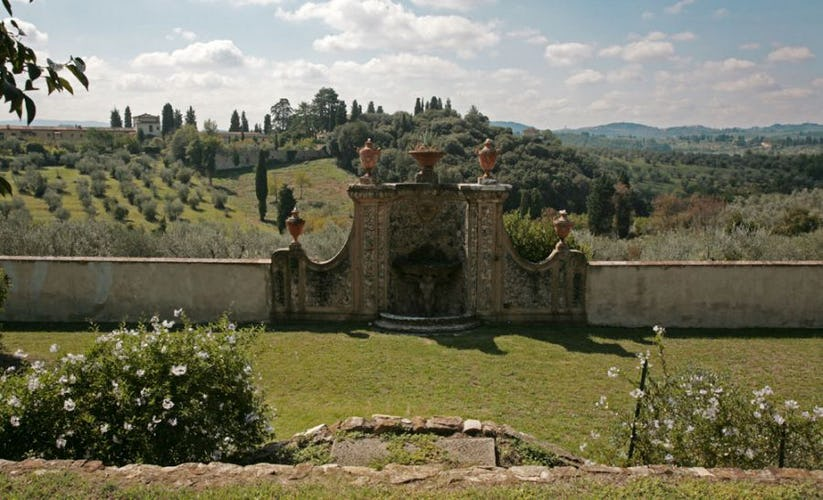 Panoramic garden over Florentine hills of Chianti at Villa Lilliano