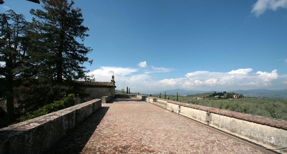 Panoramic terrace looking towards Florence at Villa Lilliano