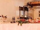 The restaurant highlights Tuscan cuisine  & Villa Tolomei wine